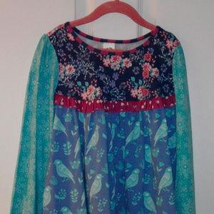 NWT Wildflowers Birdie Top Long Sleeve Size 10